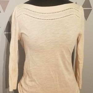 Ann Taylor Loft Peach 3/4 Sleeve Top